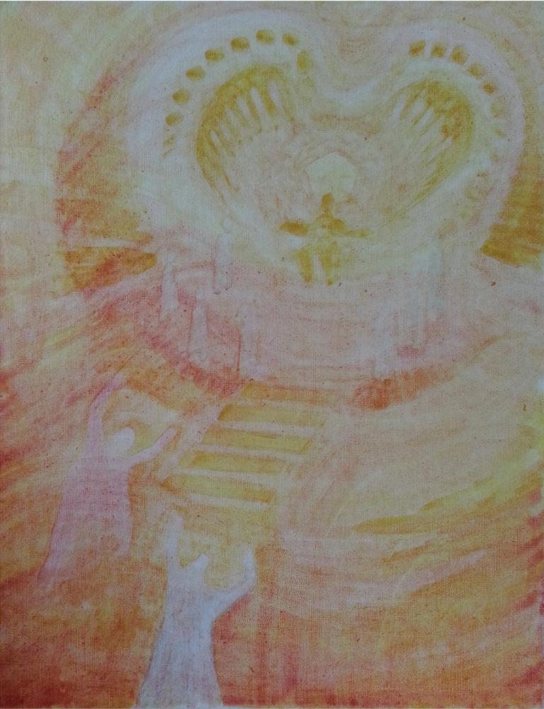 """""""Setkání v chrámu"""", malba rostlinnými barvami na plátně, 57 x 72 cm"""